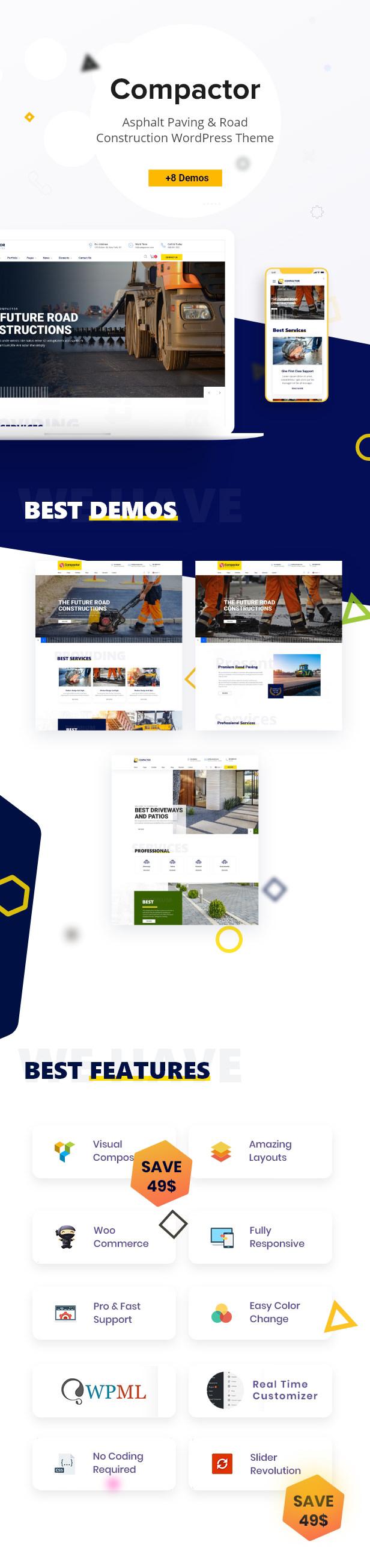 Compactor - Pavimentación de asfalto y construcción de carreteras Tema de WordPress